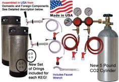 Home-Brew-Keg-Kit-2-Tap-Dual-Body-Regulator-two-5-Gallon-Pinlock-Kegs-5-PoundCO2