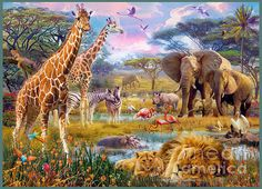 Bits and Pieces - 300 Large Piece Jigsaw Puzzle for Adults - Savannah Animals - 300 pc Jungle Scene Jigsaw by Artist Jan Patrik Jungle Animals, Baby Animals, Jungle Scene, Fantasy Book Covers, Animal Puzzle, Ravensburger Puzzle, Cross Paintings, African Animals, Wildlife Art