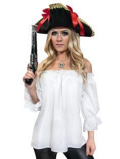 Piratenbluse für Damen Mittelalter weiss, aus unserer Kategorie Piratenkostüme. Diese Piratenlady trägt ihre Bluse mit Stolz. Schließlich kommt ihre Pistole vor dem strahlenden Weiß der Piraten-Bluse perfekt zur Geltung. Ein fantastisches Accessoire für Karneval und Piraten Mottopartys. #Karneval