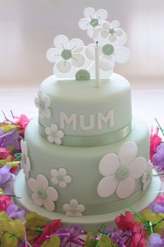 Fab Green And White Cake For Mums 65th Birthday With Stylised Flowers Which Had Button