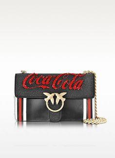 Love Profitterol Black Leather Shoulder Bag w/Golden Chain - Pinko