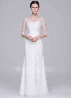 [€ 182.38] A-Linie/Princess-Linie V-Ausschnitt Bodenlang Chiffon Brautkleid mit Perlen verziert Pailletten Gestufte Rüschen