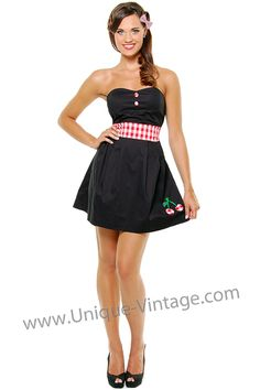 item 20171b $44 Black with red gingham cherry strapless dress