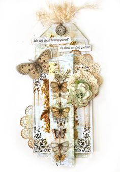 Prima Basics with Epiphany Collection - Tag featuring Glass Beads and Mica Flakes and Gel Medium
