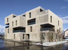 Striped Living | group8 | Archinect Architecture Design, Timber Architecture, Facade Design, Stone Facade, Mix Use Building, Residential Complex, Building Facade, Apartment Design, Stone Interior