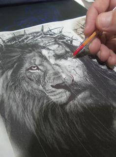 Jesus x Leão tatuagem