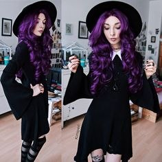 Get this look: http://lb.nu/look/8529925  More looks by Kimi Peri: http://lb.nu/kimiperi  Items in this look:  Killstar Omen Sigil Fedora Hat, Killstar Raven Claw Necklace, Killstar Hellda Knit Dress, Rogue + Wolf Black Matte Rings, Killstar Underworld Stockings, Choker, Purple Wig   #edgy #gothic #grunge #girl #kimiperi #blackrush #blogger #model #witch