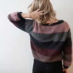 Image may contain: one or more people Crochet Woman, Knit Crochet, Sorbet, How To Purl Knit, Mohair Sweater, Knitting Accessories, Knit Patterns, Knitwear, Sweaters For Women