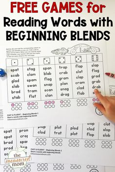 After your learners master CVC words, it's time to move on to words with beginning blends. These free games are great for small group work, learning centers, and word work. Use with beginning readers in kindergarten and first grade ... and with struggling readers in higher grades.  #blends #phonics