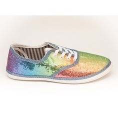 Sequin Rainbow Cvo Multi Color Canvas Sneakers Shoes ($40) ❤ liked on Polyvore featuring shoes, black, sneakers & athletic shoes, tie sneakers, women's shoes, colorful shoes, rainbow shoes, multicolor shoes, rainbow footwear and black sequin shoes