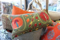 bright vintage pillows
