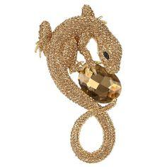Austrian Crystal Art Deco Gecko Lizard Animal Pendant Brooch Gold-Tone - Brown Gold-Tone - CT11SKSS4HR - Brooches & Pins  #jewellrix #Brooches #Pins #jewelry #fashionstyle