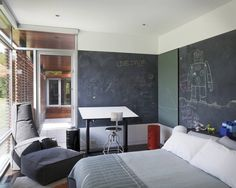 Teen Boy Bedroom Design, Pictures, Remodel, Decor and Ideas - page big chalkboard walls Jugendschlafzimmer Designs, Design Ideas, Design Trends, Cool Dorm Rooms, Kids Rooms, Teen Rooms, Small Rooms, Small Spaces, Kids Bedroom Designs