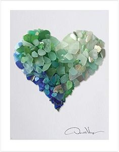 Best Quality for College Dorm, Him & Her. Great Birthday, Christmas, Mother's Day & Valentines Gifts for Men, Women & Kids. Sea Glass Crafts, Sea Crafts, Rock Crafts, Sea Glass Mosaic, Sea Glass Art, Stained Glass, Seashell Art, Seashell Crafts, Heart Poster