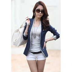 Modern Style Splicing Design V-Neck Long Sleeve Cotton Women's Blazers