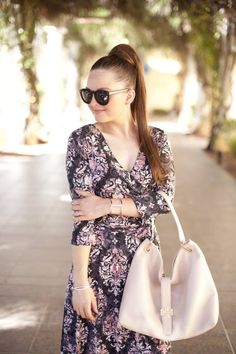 Tory Burch-Park Lane Jewelry-Pink Blush Boutique-Maxi Dress-70s Style-Fashion-Style-Fashion Blogger-Style Blog-Fall Fashion-Long Dress-Wrap Dress-Hair Ideas-Hair Inspiration-Outfit Ideas-Outfit inspiration