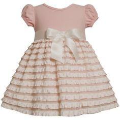 Bonnie Jean Baby/INFANT 12M-24M 2-Piece PINK IVORY BOW FRONT TIERED 'Eyelash Ruffles' Special Occasion Flower Girl Easter... $35.00