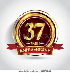 37th golden anniversary logo, thirty seven years birthday celebration with ring and red ribbon isolated on white background