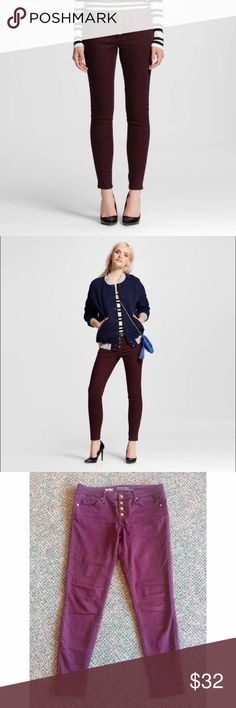 Women's Burgundy Mid-Rise Skinny Jeans These deep burgundy jeans are so comfortable and stretchy! They have four buttons up the front that give them a unique touch. Perfect for any season! Only worn twice! 57% cotton, 23% rayon, 18% polyester, 2% spandex Mossimo Supply Co Pants Skinny