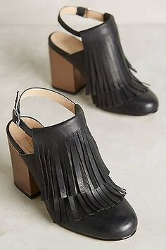 Anthropologie Ouigal Grace Heels Fringe Slingback Gold Chunky Heel SZ 37/ US 6.5