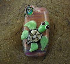 Handmade Lampwork Glass Focal Bead Green Turtle by PowersArtStudio, $20.00
