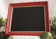 Red Framed Chalkboard kitchen menu board red by PegsSecondChance, $15.00