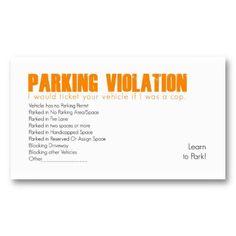 Parking Violation Business Cards Bad Drivers Visit Carte De