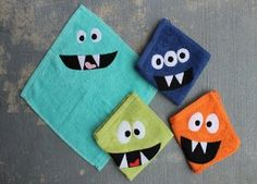 """Diy Monster Face Cloths Tutorial SUPPLIES: Cotton face cloths in a variety of """"monster"""" colors Fabric scraps in white, black, and other colors Thread Scrap Fabric Projects, Easy Sewing Projects, Diy Craft Projects, Fabric Scraps, Sewing Crafts, Sewing Ideas, Diy Crafts, Diy Gifts For Kids, Diy For Kids"""