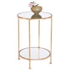 Worlds Away Chico Small 2 Tier Gold Leaf Side Table With A Mirror Top By
