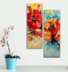 Quadri astratti con uomo e donna dipinti a mano olio su for Quadri fiori olio