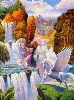 °Pegasus Valley Falls by Pera Mesel Unicorn And Fairies, Unicorn Fantasy, Unicorn Horse, Unicorns And Mermaids, Unicorn Art, Fantasy Paintings, Fantasy Artwork, Magical Creatures, Fantasy Creatures