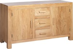Cube solid oak and oak veneer large sideboard. Large Sideboard, Oak Sideboard, Chrome Handles, Wooden Handles, Cubes, Simple Coffee Table, Oak Dresser, White Oak, Furniture Collection