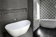 Image result for black feature wall tiles bathroom
