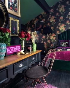 Dark Wall Color Decor Inspiration Maximal Home Photos Quirky Home Decor, Cheap Home Decor, Diy Home Decor, Floral Bedroom, Bedroom Decor, Feminine Bedroom, Eclectic Frames, Dark Paint Colors, Dark Interiors