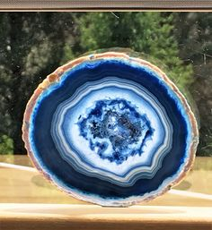 Brazilian Agate Geode Slab/slice- Large Blue Color - X 3 idea. Crystals And Gemstones, Stones And Crystals, Geode Rocks, Agate Geode, Blue Geode, Beautiful Rocks, Rocks And Gems, Rocks And Minerals, Resin Art