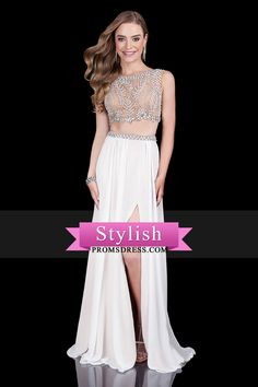 2016 Two Pieces Prom Dresses Bateau Beaded Bodice With Slit