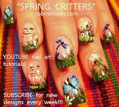 SPRING CRITTERS NAIL ART NAILS   www.youtube.com/watch?v=zlfx8eYMFqs