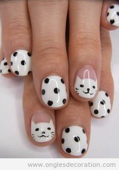 Latest easy simple nail designs for short nails to make at home.DIY striped nails,dotted nail art,french manicure for short nails,floral nail Nail Art Designs, Short Nail Designs, Simple Nail Designs, Nails Design, Animal Nail Designs, Easy Designs, Awesome Designs, Animal Design, Cat Nail Art