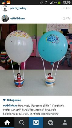 Airballoons using plastic/paper cups, straws and balloons Preschool Crafts, Diy And Crafts, Crafts For Kids, Paper Crafts, Projects For Kids, Diy For Kids, Art N Craft, Summer Crafts, Toddler Crafts