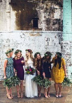 These non-matching bridesmaid dresses are stunning.