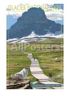 Logan Pass - Glacier National Park, Montana by Richard Cummins Landscapes Art Print - 46 x 61 cm
