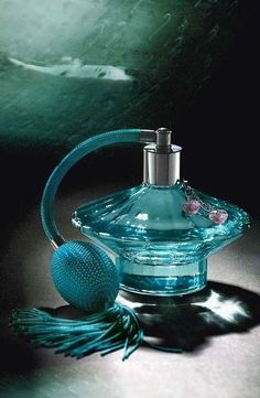 Turquoise Perfume Bottle (Britney Spears first perfume) Perfume Atomizer, Antique Perfume Bottles, Vintage Bottles, Blue Perfume, Aqua, Teal, Beautiful Perfume, Shades Of Turquoise, Smell Good