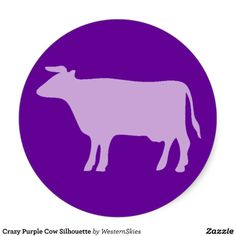 sold 6 sheets of Crazy Purple Cow Silhouette Round Stickers