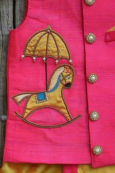 Simple Embroidery, Hand Embroidery Designs, Embroidery Blouses, Beaded Embroidery, Baby Boy Fashion, Kids Fashion, Baby Boy Dress, Baby Dresses, Boys Kurta Design