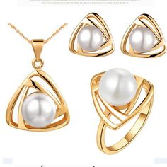 Wholesale – Pearl Jewelry Sets Bridal Wedding Rhinestones Gemstone Earrings Necklace and rings jewelry Set Platinum-plated- Pearl Pendant Necklace, Gemstone Earrings, Pearl Jewelry, Gold Jewelry, Pearl Earrings, Cheap Jewelry, Jewelry Findings, Pearl Gemstone, Gold Necklaces