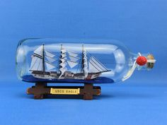 "Handcrafted Model Ships Eagle-Bottle USCG Eagle Ship In A Bottle 9"""