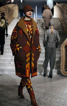 Hermes Fall 2011 « The Sartorialist Hermes, Quilted Clothes, Navajo Pattern, Textiles, Sartorialist, Vogue, Colourful Outfits, Models, Piece Of Clothing