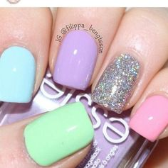 Pastel colors for spring. Just wish I knew what colors & brand they are....
