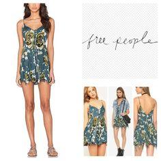 "Free People Alyson Floral Print Slip Dress.  NWT. Free People Pine Combo Alyson Slip Dress/Tunic, 100% rayon, washable, 18.5"" armpit to armpit (37"" all around), 34"" shortest center length, 36"" longest side length, bold floral print, V neck and V back, sheer, adjustable shoulder straps, knife pleat detail, uneven hem, measurements are approx.  No Trades... Free People Dresses Mini"