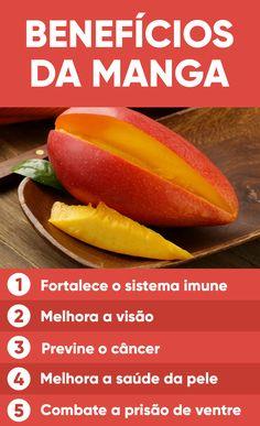 Os benefícios da manga se devem à presença de vitamina A, antioxidantes, fibras e enzimas nesta fruta. A manga é uma fruta pouca calórica, pois 100 g de manga têm apenas 52 calorias.